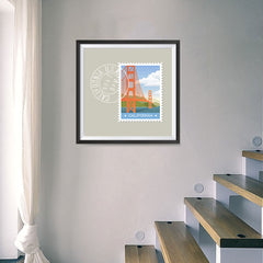 Ezposterprints - CALIFORNIA - Retro USA State Stamp Posters Collection - 16x16 ambiance display photo sample