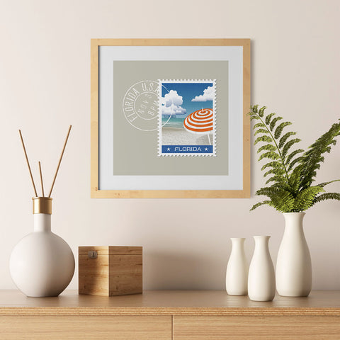 Ezposterprints - FLORIDA - Retro USA State Stamp Posters Collection - 12x12 ambiance display photo sample