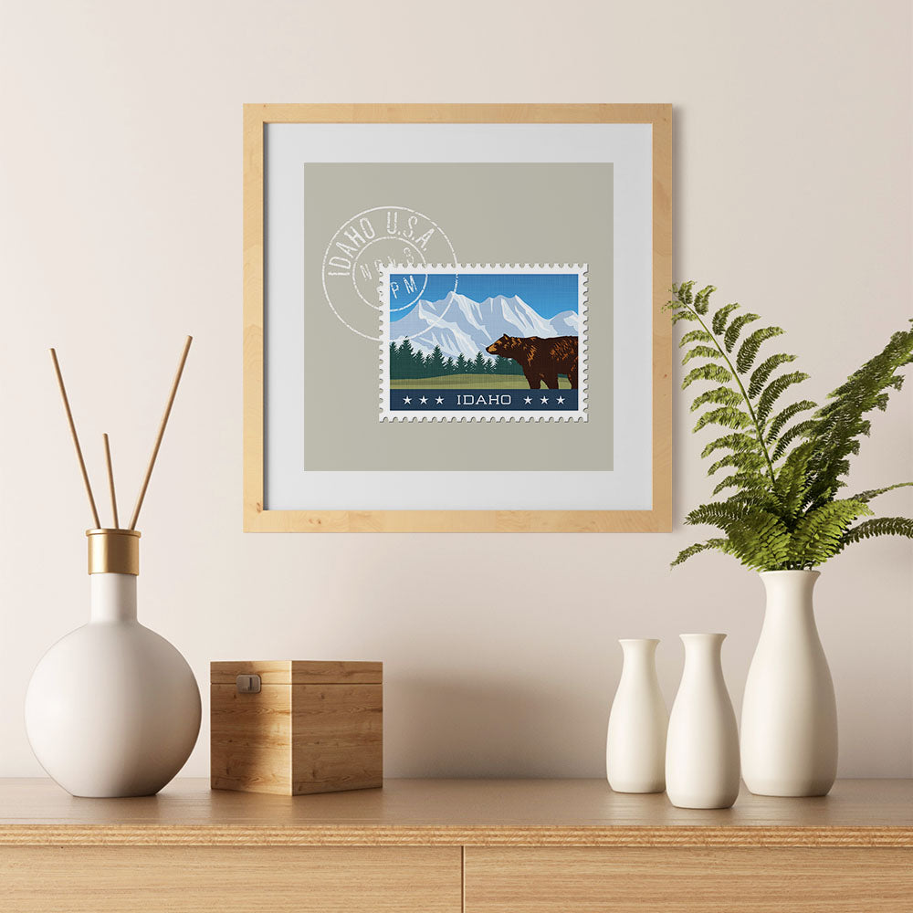 Ezposterprints - IDAHO - Retro USA State Stamp Posters Collection - 12x12 ambiance display photo sample