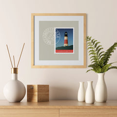 Ezposterprints - MASSACHUSETTS - Retro USA State Stamp Posters Collection - 12x12 ambiance display photo sample