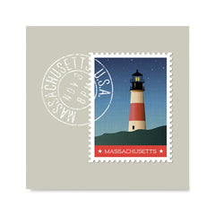 Ezposterprints - MASSACHUSETTS - Retro USA State Stamp Posters Collection