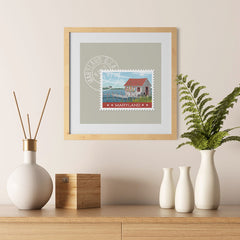 Ezposterprints - MARYLAND - Retro USA State Stamp Posters Collection - 12x12 ambiance display photo sample