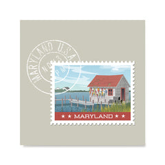 Ezposterprints - MARYLAND - Retro USA State Stamp Posters Collection