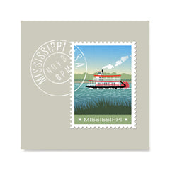 Ezposterprints - MISSISSIPPI - Retro USA State Stamp Posters Collection