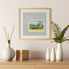 Ezposterprints - NEBRASKA - Retro USA State Stamp Posters Collection - 12x12 ambiance display photo sample