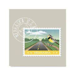 Ezposterprints - NEBRASKA - Retro USA State Stamp Posters Collection