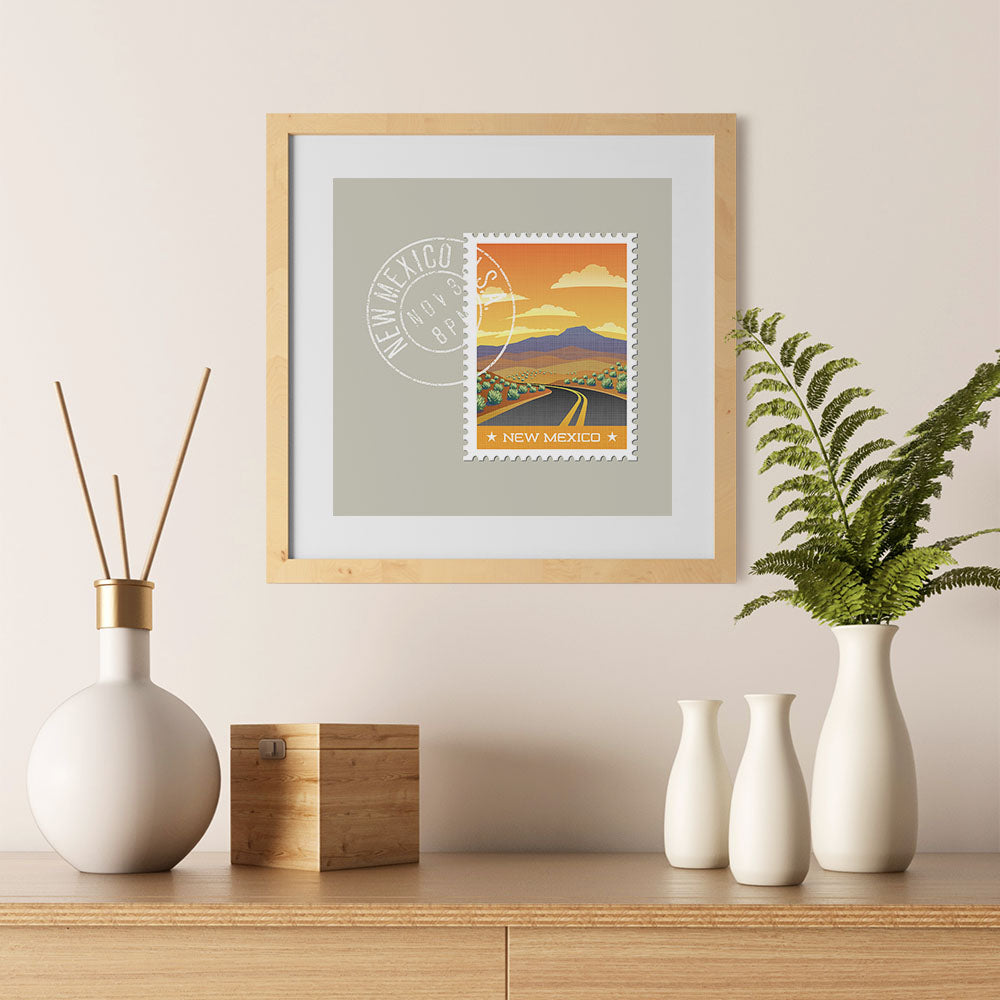 Ezposterprints - NEW MEXICO - Retro USA State Stamp Posters Collection - 12x12 ambiance display photo sample