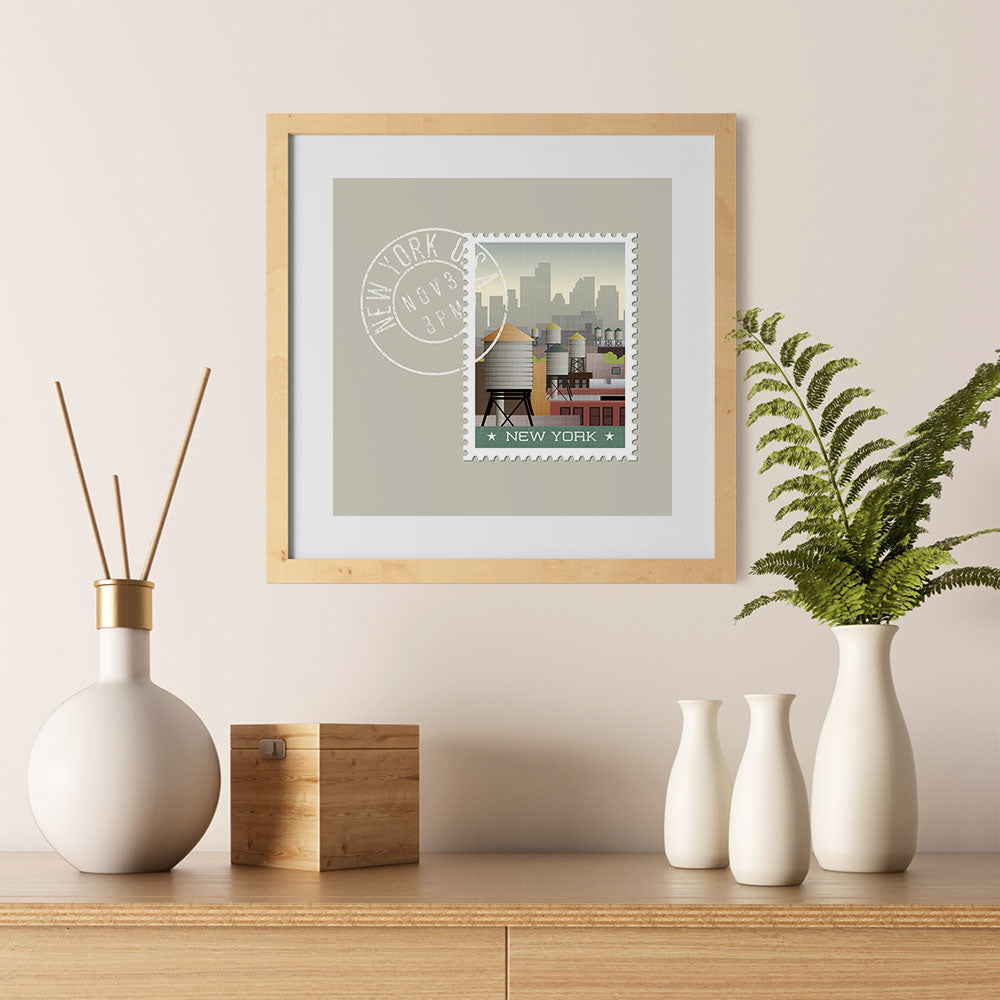 Ezposterprints - NEW YORK - Retro USA State Stamp Posters Collection - 12x12 ambiance display photo sample
