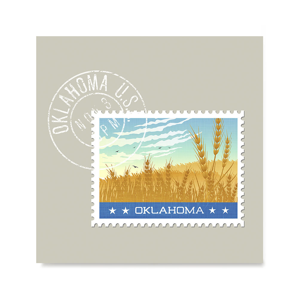 Ezposterprints - OKLAHOMA - Retro USA State Stamp Posters Collection