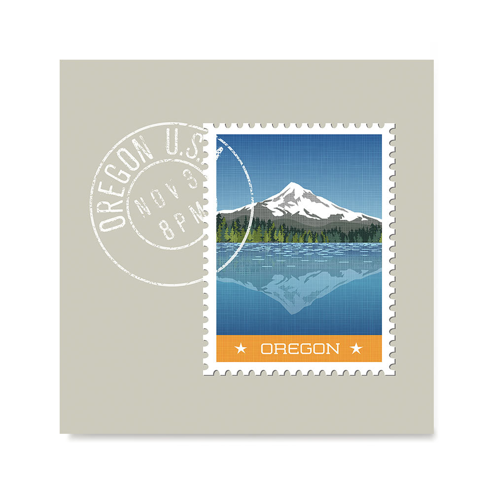 Ezposterprints - OREGON - Retro USA State Stamp Posters Collection