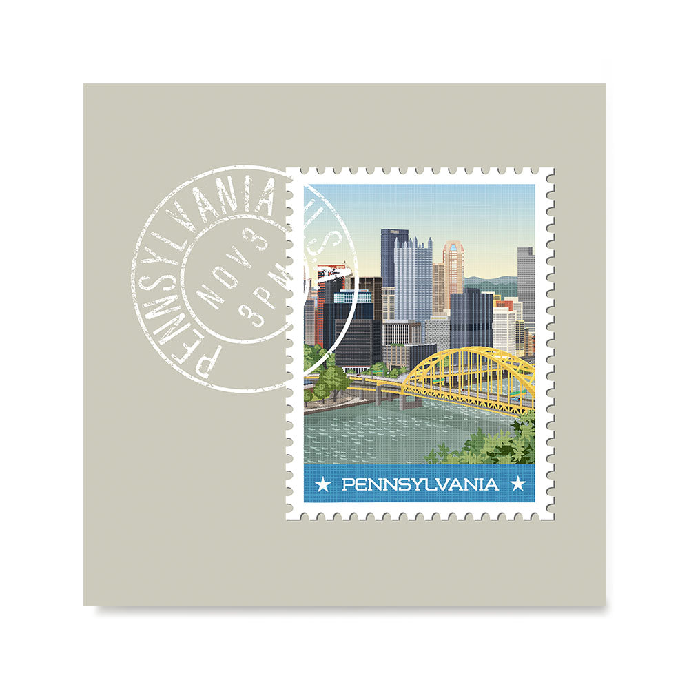 Ezposterprints - PENNSYLVANIA - Retro USA State Stamp Posters Collection