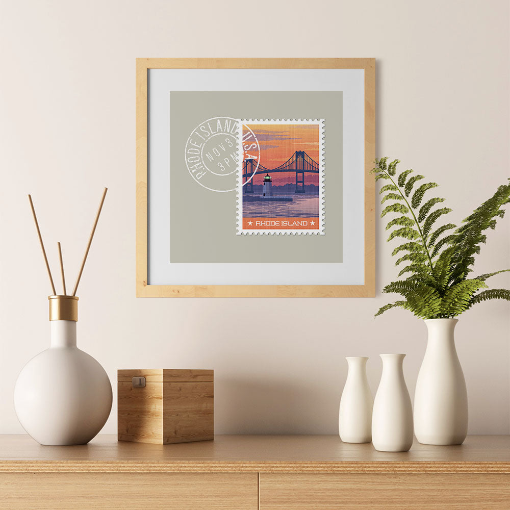Ezposterprints - RHODE ISLAND - Retro USA State Stamp Posters Collection - 12x12 ambiance display photo sample