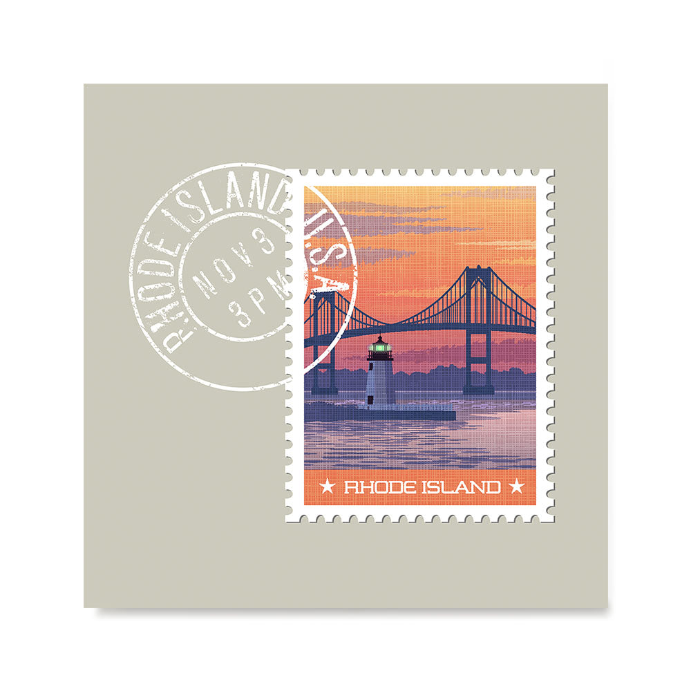 Ezposterprints - RHODE ISLAND - Retro USA State Stamp Posters Collection