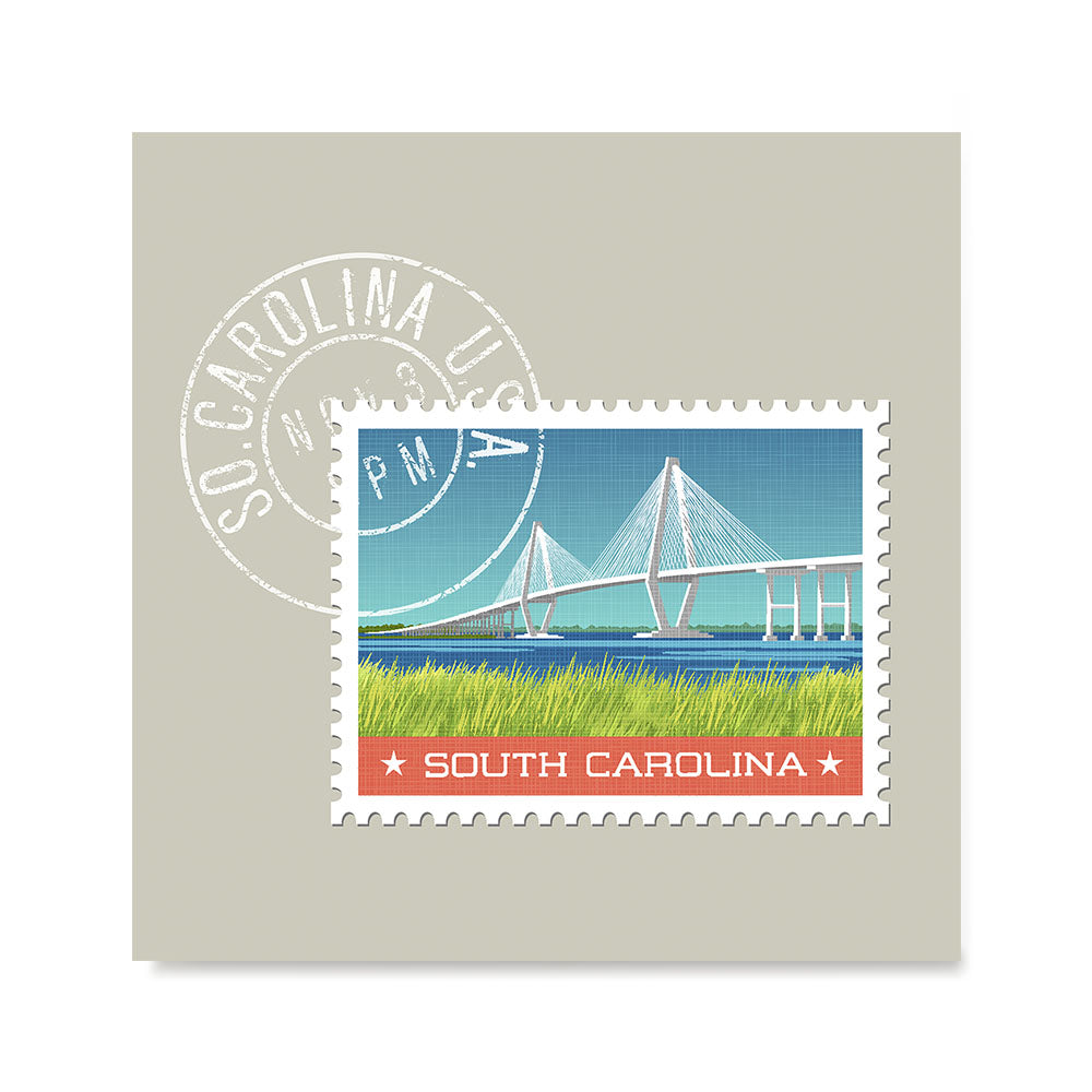 Ezposterprints - SOUTH CAROLINA - Retro USA State Stamp Posters Collection