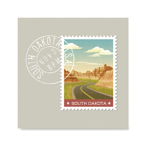 Ezposterprints - SOUTH DAKOTA - Retro USA State Stamp Posters Collection