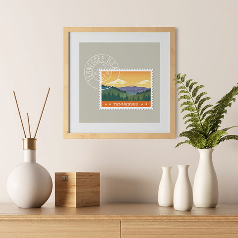 Ezposterprints - TENNESSEE - Retro USA State Stamp Posters Collection - 12x12 ambiance display photo sample