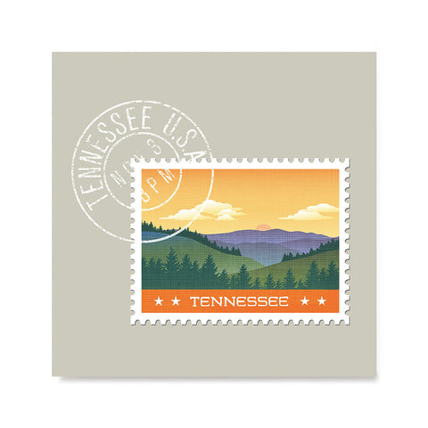 Ezposterprints - TENNESSEE - Retro USA State Stamp Posters Collection