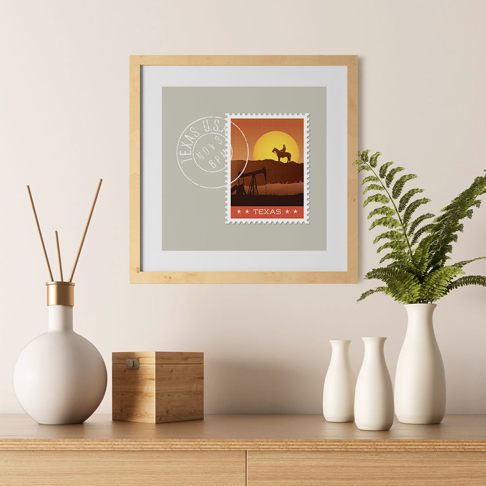 Ezposterprints - TEXAS - Retro USA State Stamp Posters Collection - 12x12 ambiance display photo sample