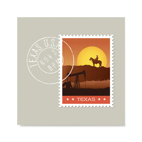 Ezposterprints - TEXAS - Retro USA State Stamp Posters Collection