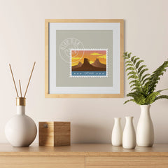 Ezposterprints - UTAH - Retro USA State Stamp Posters Collection - 12x12 ambiance display photo sample