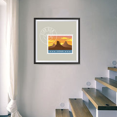 Ezposterprints - UTAH - Retro USA State Stamp Posters Collection - 16x16 ambiance display photo sample
