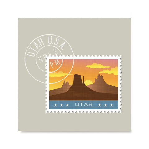 Ezposterprints - UTAH - Retro USA State Stamp Posters Collection