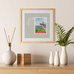 Ezposterprints - VIRGINIA - Retro USA State Stamp Posters Collection - 12x12 ambiance display photo sample