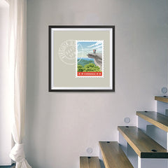 Ezposterprints - VIRGINIA - Retro USA State Stamp Posters Collection - 16x16 ambiance display photo sample