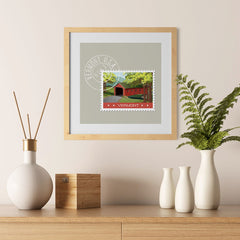 Ezposterprints - VERMONT - Retro USA State Stamp Posters Collection - 12x12 ambiance display photo sample