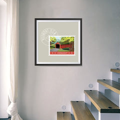 Ezposterprints - VERMONT - Retro USA State Stamp Posters Collection - 16x16 ambiance display photo sample