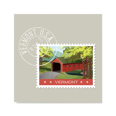 Ezposterprints - VERMONT - Retro USA State Stamp Posters Collection