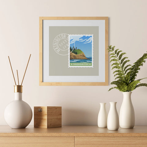 Ezposterprints - WASHINGTON - Retro USA State Stamp Posters Collection - 12x12 ambiance display photo sample
