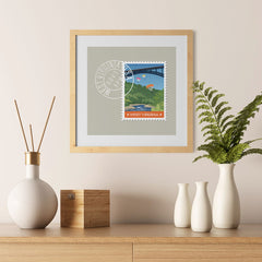 Ezposterprints - WEST VIRGINIA - Retro USA State Stamp Posters Collection - 12x12 ambiance display photo sample