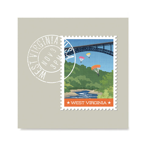 Ezposterprints - WEST VIRGINIA - Retro USA State Stamp Posters Collection