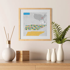 Ezposterprints - Tennessee (TN) State - General Reference Map - 12x12 ambiance display photo sample