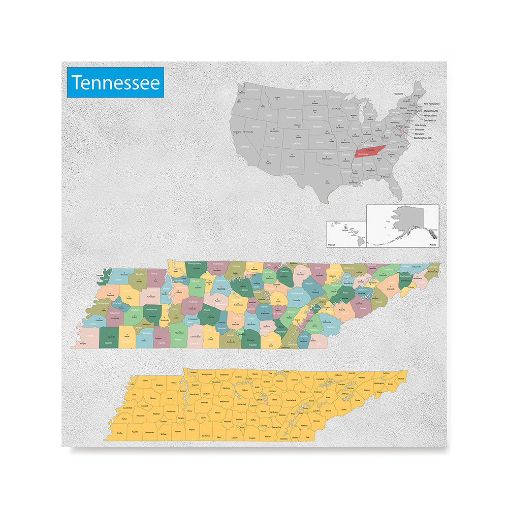 Ezposterprints - Tennessee (TN) State - General Reference Map