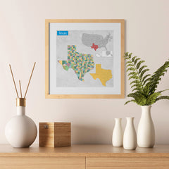 Ezposterprints - Texas (TX) State - General Reference Map - 12x12 ambiance display photo sample