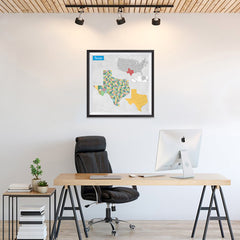 Ezposterprints - Texas (TX) State - General Reference Map - 24x24 ambiance display photo sample