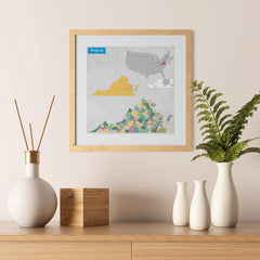 Ezposterprints - Virginia (VA) State - General Reference Map - 12x12 ambiance display photo sample