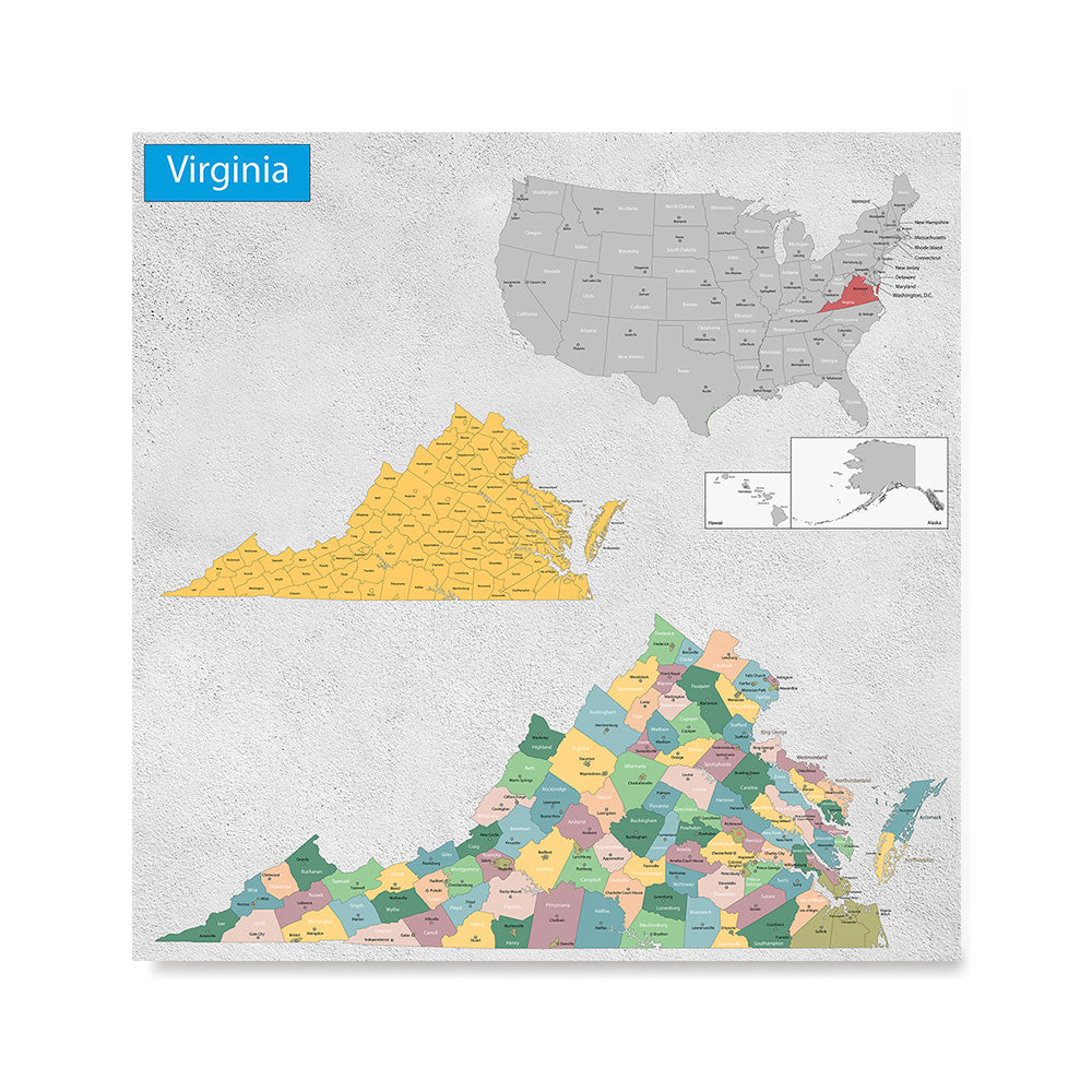 Ezposterprints - Virginia (VA) State - General Reference Map