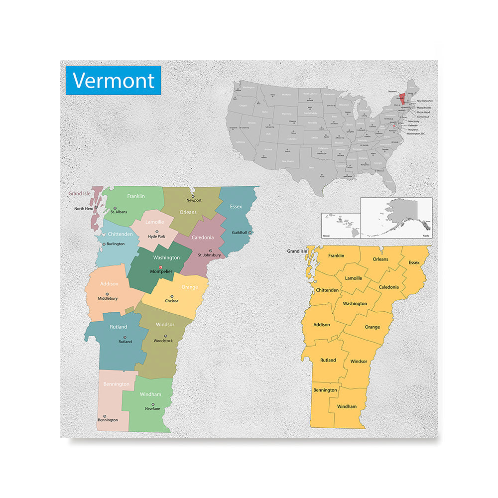 Ezposterprints - Vermont (VT) State - General Reference Map