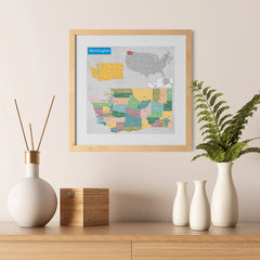 Ezposterprints - Washington (WA) State - General Reference Map - 12x12 ambiance display photo sample