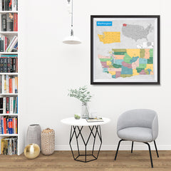 Ezposterprints - Washington (WA) State - General Reference Map - 32x32 ambiance display photo sample