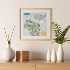 Ezposterprints - Wisconsin (WI) State - General Reference Map - 12x12 ambiance display photo sample