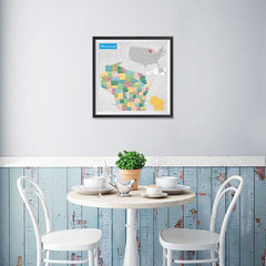 Ezposterprints - Wisconsin (WI) State - General Reference Map - 16x16 ambiance display photo sample