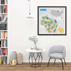 Ezposterprints - Wisconsin (WI) State - General Reference Map - 32x32 ambiance display photo sample