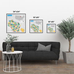 Ezposterprints - Wisconsin (WI) State - General Reference Map ambiance display photo sample
