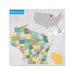 Ezposterprints - Wisconsin (WI) State - General Reference Map