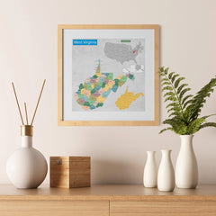 Ezposterprints - West Virginia (WV) State - General Reference Map - 12x12 ambiance display photo sample