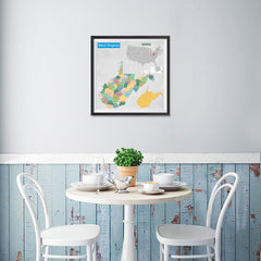 Ezposterprints - West Virginia (WV) State - General Reference Map - 16x16 ambiance display photo sample
